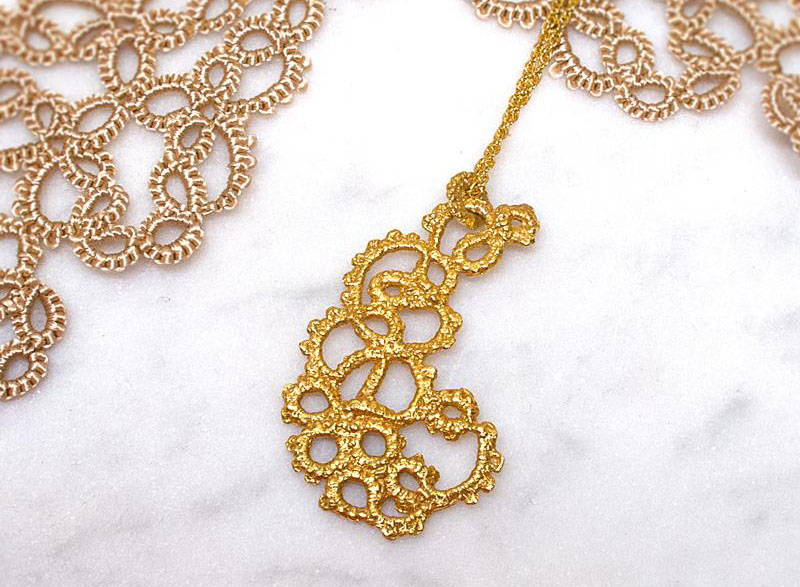 Ruth Mary Jewellery Sputnik Paisley Necklace Gold
